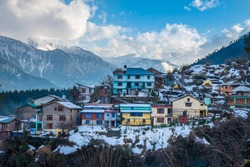 Old Manali after snow, beautiful little town in Himalayas in Himachal India