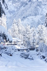 Old Manali and Beas River freezing during winter on February in Manali Himachal Pradesh India