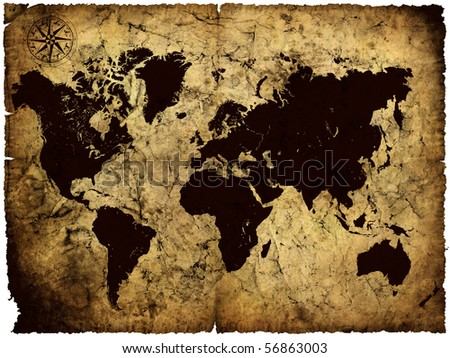 old manuscript of world map - stock photo