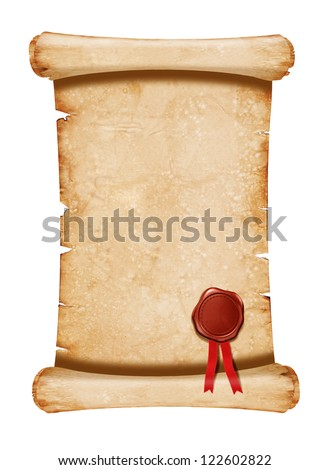 Old manuscript with seal wax -  isolated on white