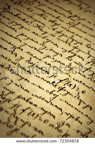 old manuscript written with ink