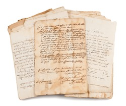 Old manuscripts isolated on white