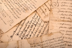 old manuscripts written on old dirty sheets
