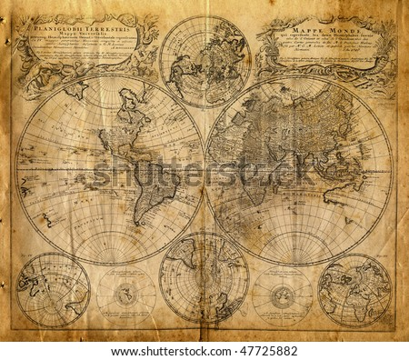 Old map(1746) - stock photo