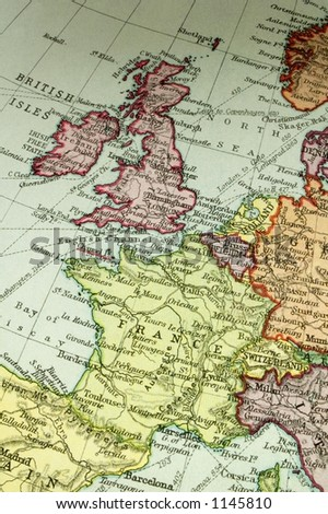 Old map (about 100y) of Britain and France. - stock photo