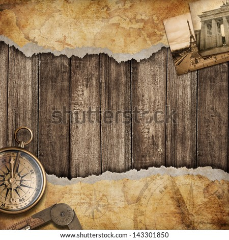 old map background with compass....
