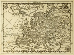 Old map Europe with parallels and meridians. May be dated to the end of XVII sec.