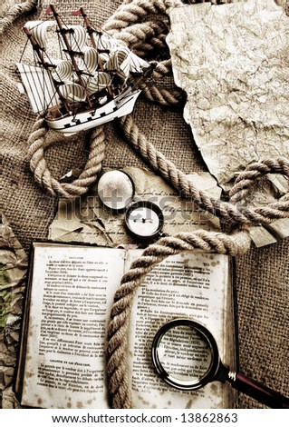 Old map & Magnifying glass & Rope