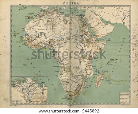 Old Map of Africa 1867