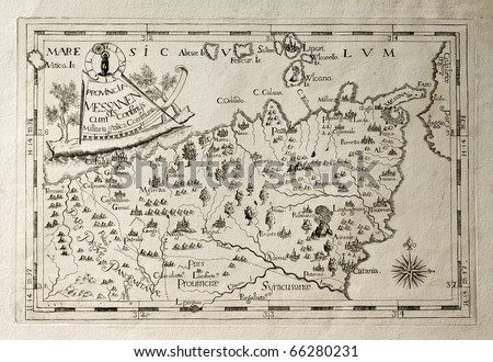 stock photo : Old map of Capuchins province of Messina, Sicily. The map may