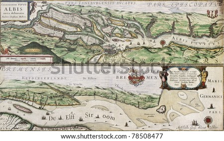 old map of elbe river and...