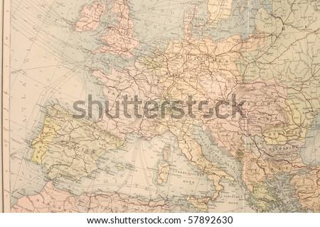 Old map of Europe. Names in German.