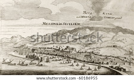 stock photo : Old map of Messina, Sicily, with Etna volcano in background.