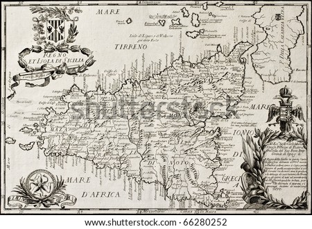 Old map of Sicily. The original map is datable approximately between the and of 17th c. and the beginning of 18th c.. The map was created by Franciscus Cassianus Da Sliva. #66280252
