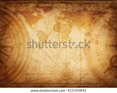 old map of the world. elements...