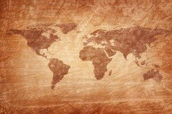 Old map of the world on a old wooden parchment background. Vintage style. Elements of this Image Furnished by NASA.