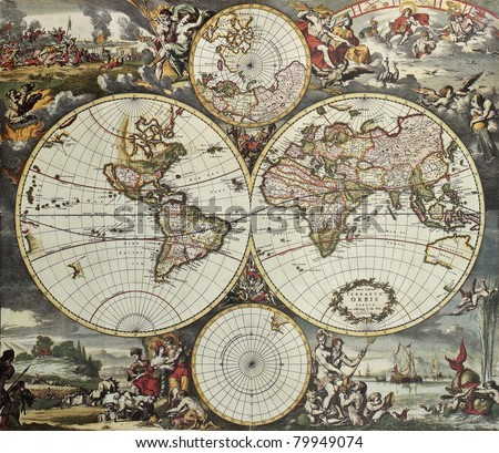 old map of world hemispheres....