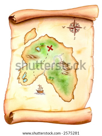 Old map showing a treasure island. Hand painted illustration. - stock photo