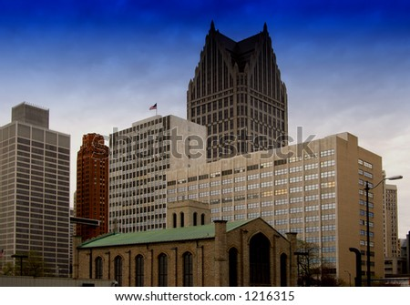 Old Mariner's Church with Detroit's skyline in the background