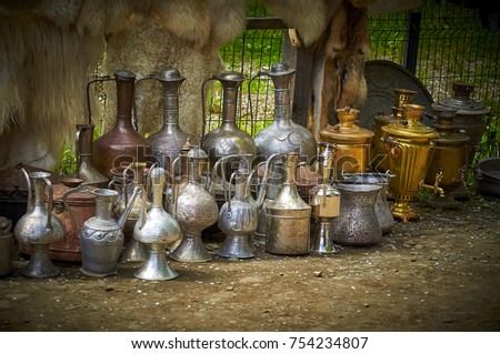 old market, old jugs, steel jug, vintage kitchenware #754234807