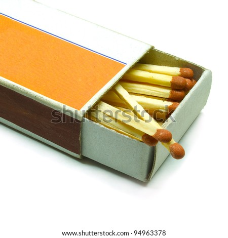 Old matchbox isolated on the white background