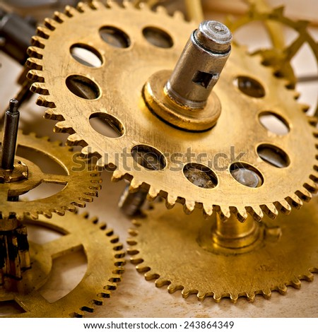 old mechanical clock gear, old technology background