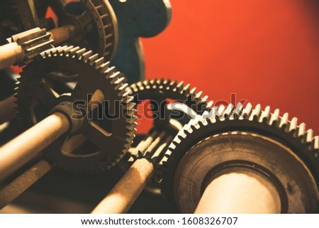 old mechanical iron gears, parts of an ancient analogic clock