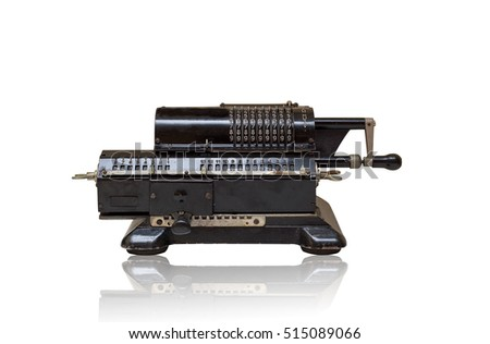 old mechanical manual counting machine for mathematical calculations with reflection #515089066