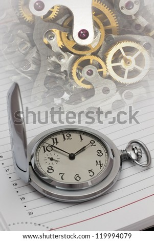 Old mechanical watch and details of the mechanism.