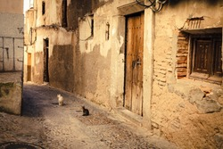 Old medieval architecture and street of Spain, one of the oldest towns of the imperial city Toledo.