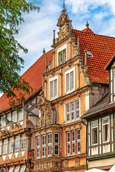 Old medieval buildings in the Weser Renaissance style in Hameln, Lower Saxony, Germany.