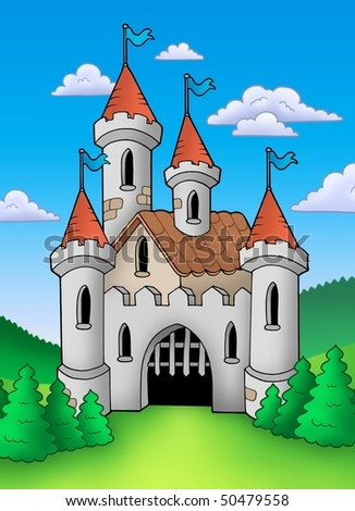 Old medieval castle in landscape - color illustration.