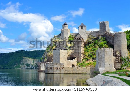 Old medieval fortification Golubac, Serbia #1115949353