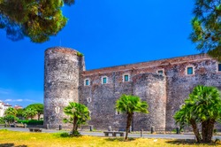 Old medieval royal castle fortress with stone walls and towers Castello Ursino Bear Castle Sicily Kingdom, also known as Castello Svevo di Catania in historical city centre, southern Italy