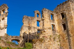 Old medieval ruin Castle with European architecture, France. Hight quality photo