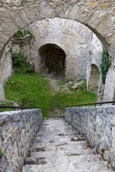 Old medieval ruined Gallenstein Castle. Arched vaults and stone staircase in the citadel. Municipality of Sankt Gallen,  Styria, Austria. Tourist landmark