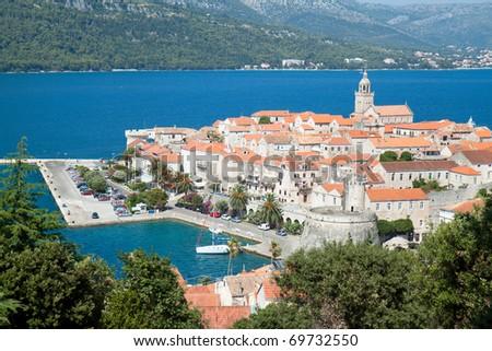 Old medieval town Korcula - panorama. Croatia, Dalmatia region, Europe.