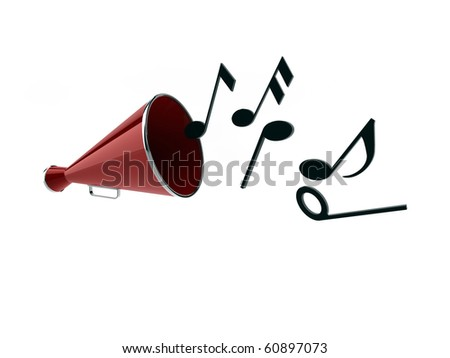 old megaphone playing notes isolated on white background