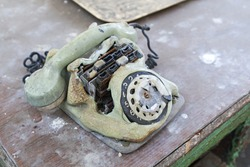 Old melted dial telephone
