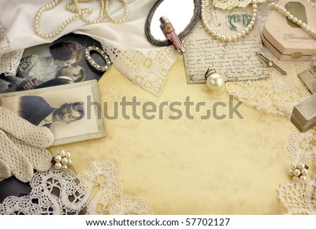 Old memories - Original accessories of 1920s on vintage background