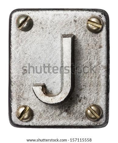 Old metal alphabet letter J #157115558