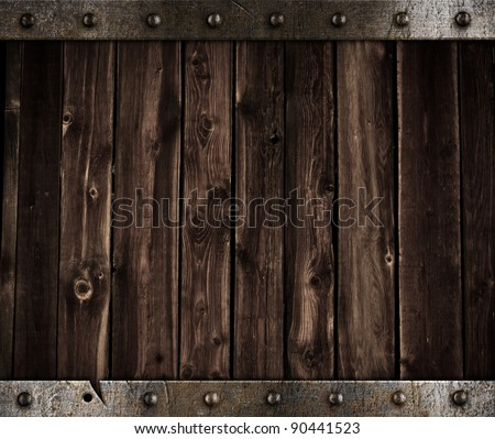 old metal and wood medieval background - stock photo