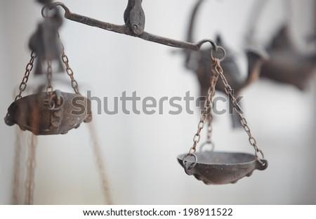 Old metal balance at antique store