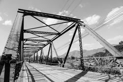 Old metal bridge in monotone