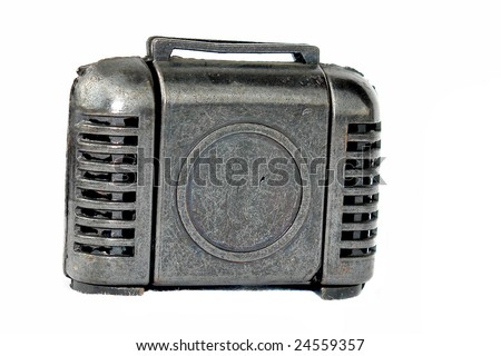 old metal briefcase with light effects. photo image