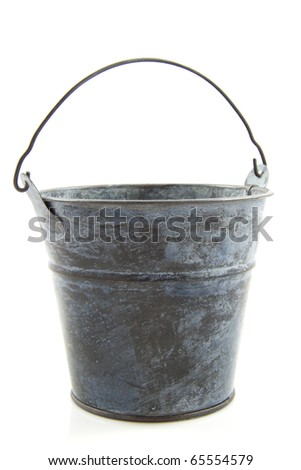 Old metal bucket isolated on a white background