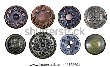 Old metal buttons with stars