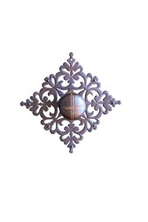 old metal door handle with a beautiful metal ornament isolated on a white background