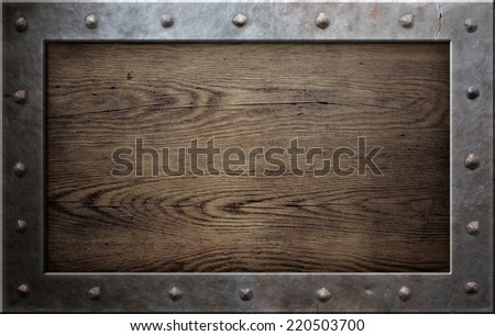 old metal frame over wooden plate 220503700 - Metal Picture Frame