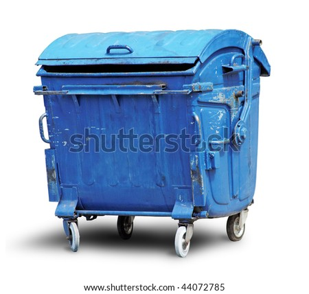 Old metal garbage container isolated on white with clipping path